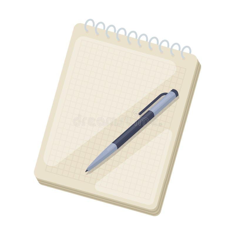 Notitieboekje en penpictogram in beeldverhaalstijl op witte achtergrond wordt geïsoleerd die vector illustratie