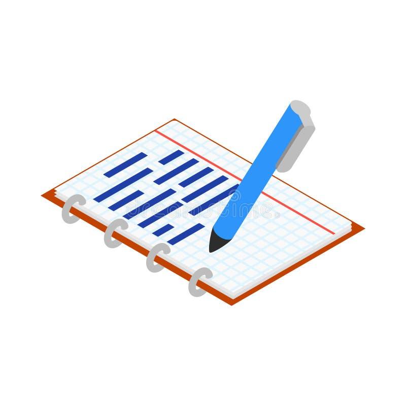 Notitieboekje en penpictogram, isometrische 3d stijl royalty-vrije illustratie