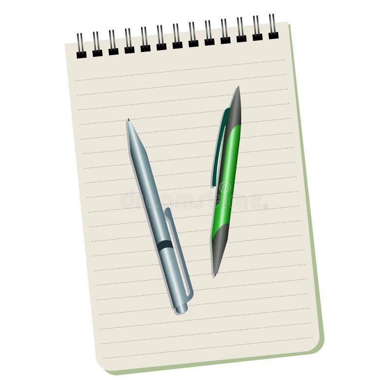 Notitieboekje en twee pennen royalty-vrije illustratie