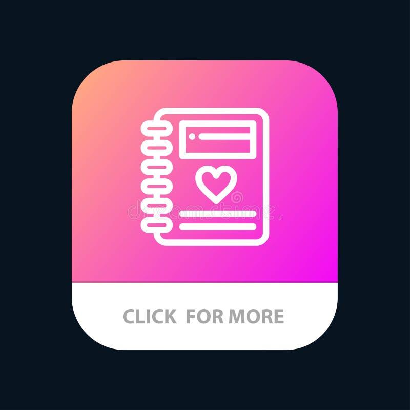 Notitieboekje, Liefde, Hart, de Knoop van de Huwelijksmobiele toepassing Android en IOS Lijnversie royalty-vrije illustratie