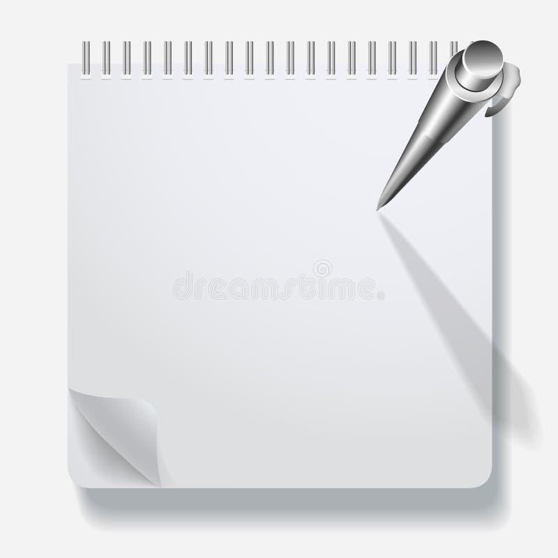 Notitieboekje met een pen stock illustratie