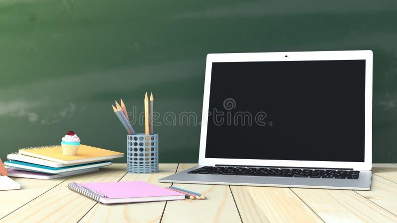 Notitieboekje met laptop met potlood stock illustratie