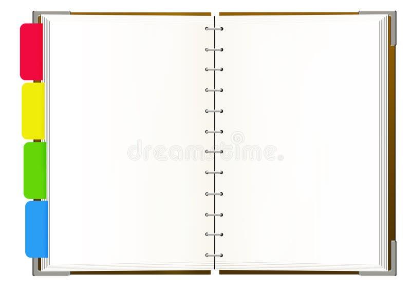 Notitieboekje met lege pagina's royalty-vrije illustratie