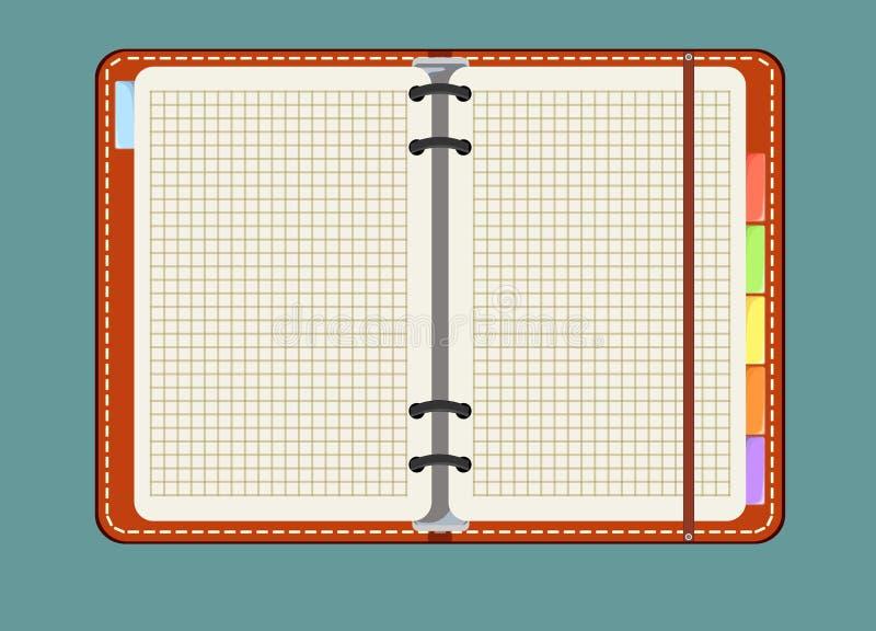 Notitieboekje met referentie op achtergrond wordt geïsoleerd die vector illustratie