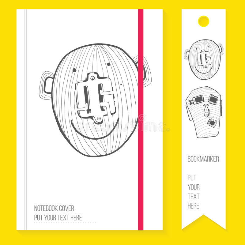 Notitieboekjedekking met referentie en hand getrokken elementen doodle vector illustratie