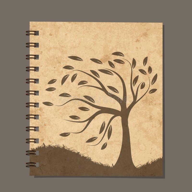 Notitieboekjeontwerp, kunstboom Oud grungedocument stock illustratie