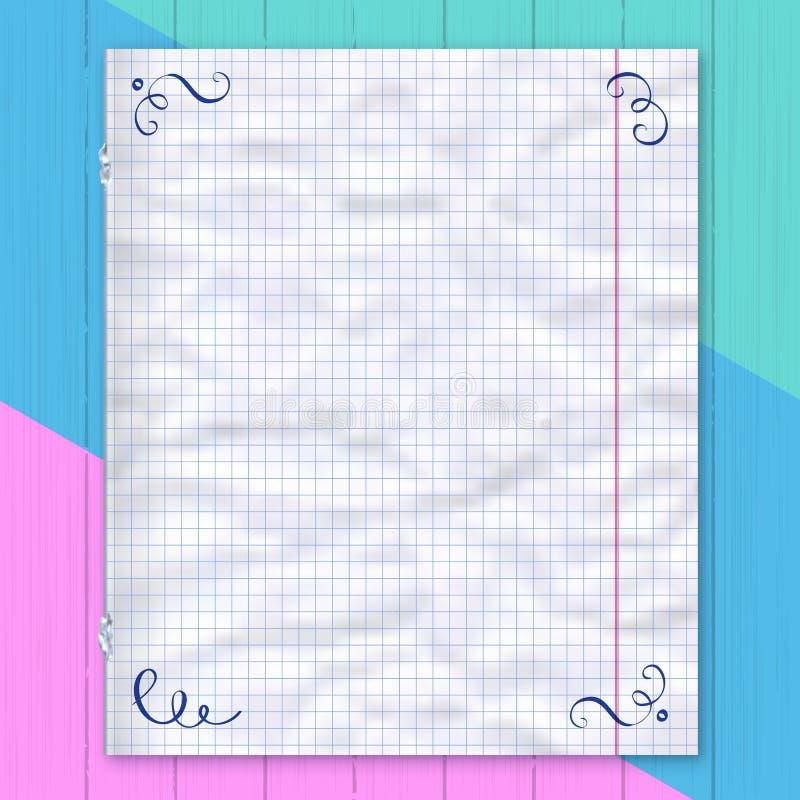 Notitieboekjepagina, gevoerde document kleurrijke achtergrond Ontwerpmalplaatje, vectormodel royalty-vrije illustratie