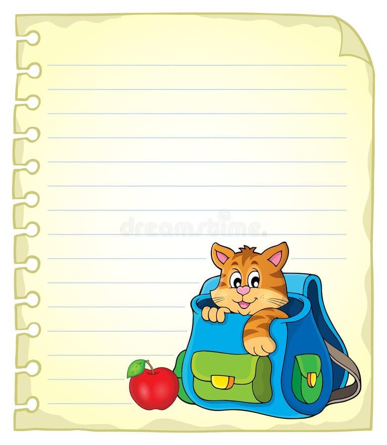 Notitieboekjepagina met kat in schooltas royalty-vrije illustratie