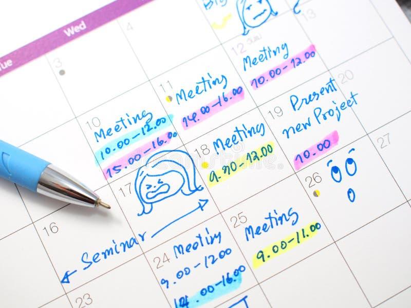 Notiz auf Kalender lizenzfreie stockbilder