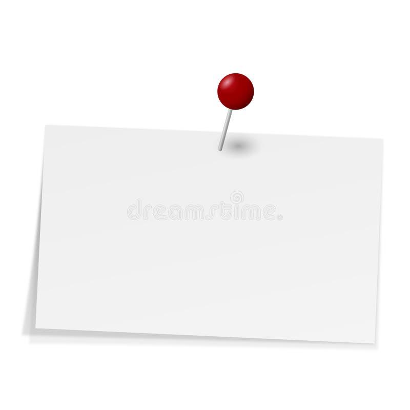 Notiz mit Nadel vektor abbildung. Illustration von liste ...