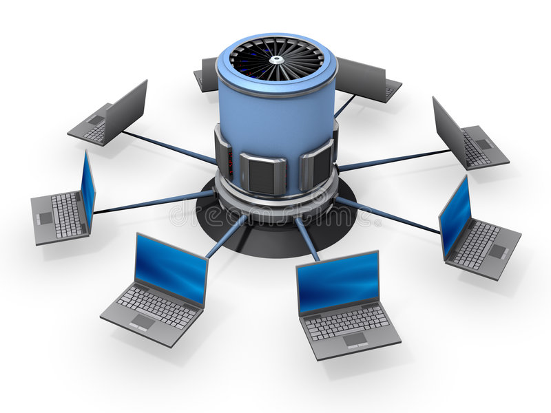 Notizbücher angeschlossen an Server lizenzfreie abbildung