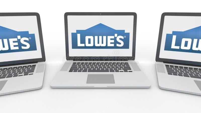 Notizbücher mit Lowe-` s Logo auf dem Schirm Wiedergabe des Computertechnologiebegriffsleitartikels 3D vektor abbildung