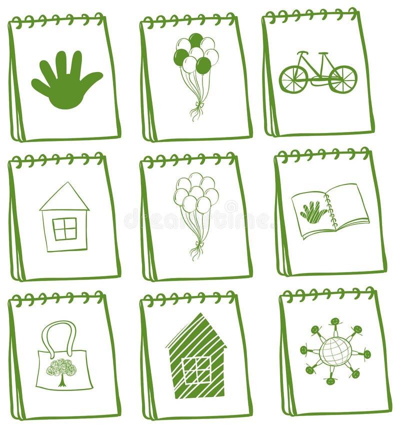 Notizbücher mit verschiedenen Deckblattentwürfen lizenzfreie abbildung