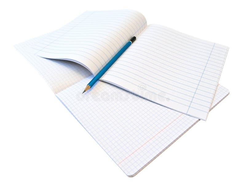 Notizbücher und Bleistift stockfoto