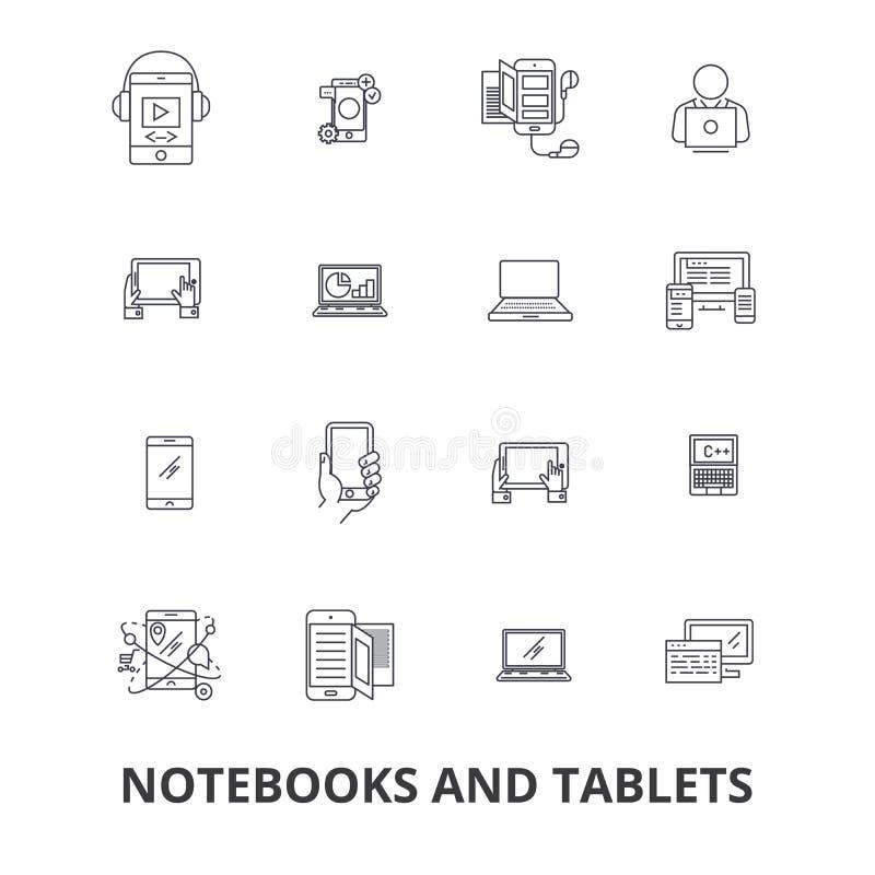 Notizbücher und Tabletten, Laptop, Schirm, Notizblock, Computer, Gerät, PC-Linie Ikonen Editable Anschläge Flacher Designvektor lizenzfreie abbildung