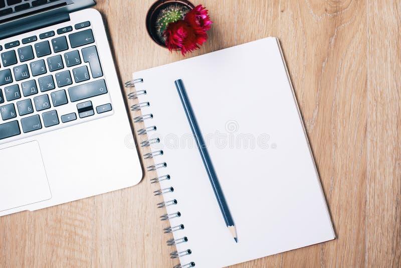 Notizblock, Tastatur und Kaktus lizenzfreie stockbilder