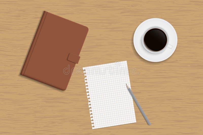 Notizbuch der gebundenen Ausgabe, Tasse Kaffee und ein weißes Blatt Papier Esprit vektor abbildung
