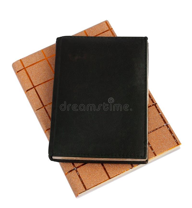 Notizbuch in der schwarzen ledernen Abdeckung lokalisiert stockfoto