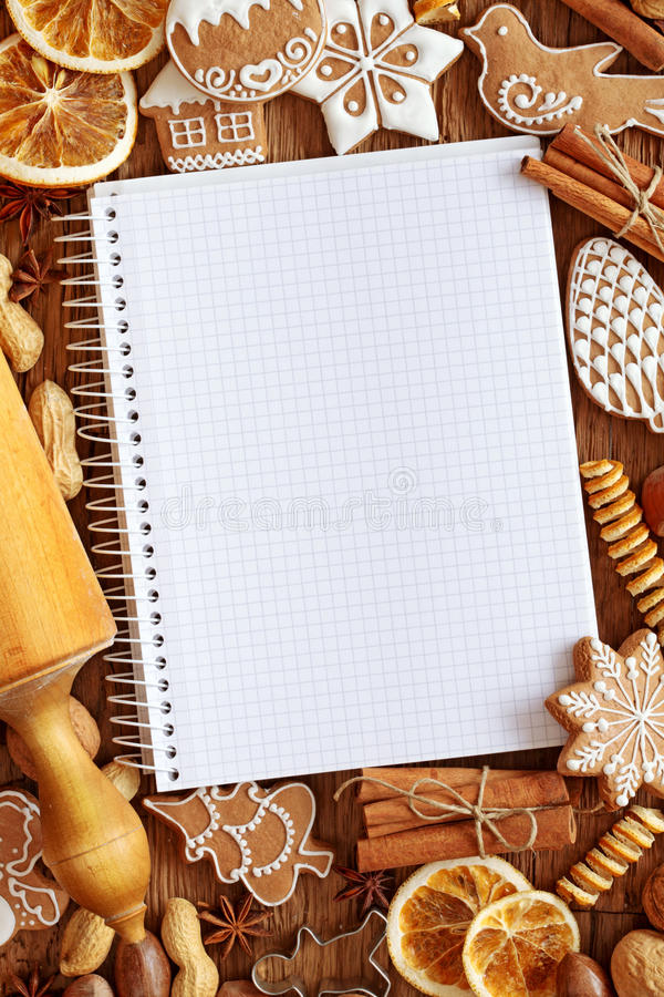 Notizbuch für Rezepte stockfotos