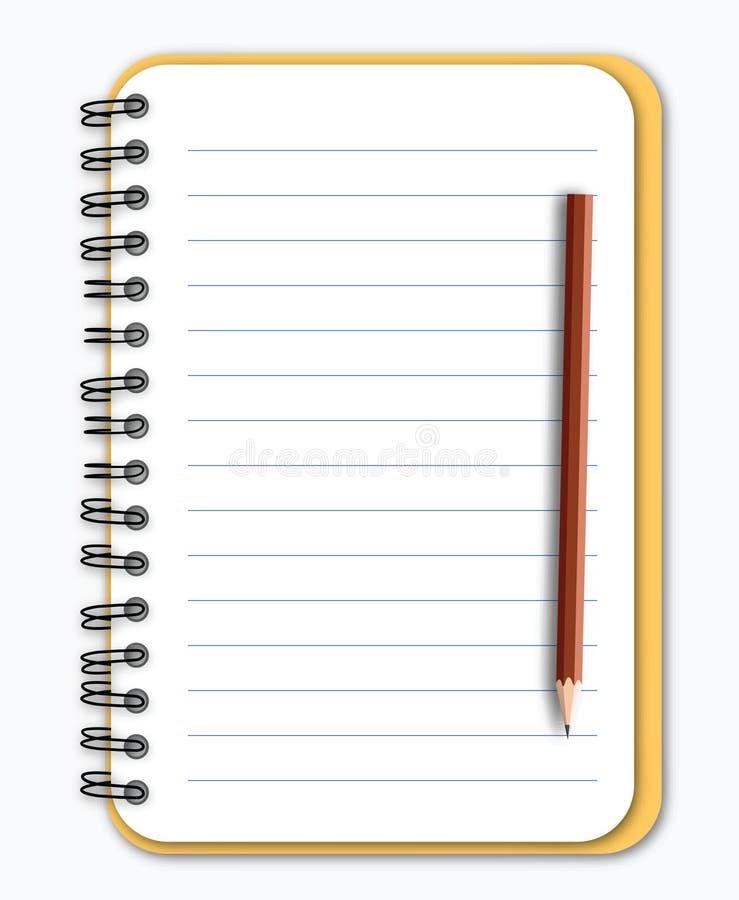Notizbuch mit Bleistift lizenzfreie abbildung