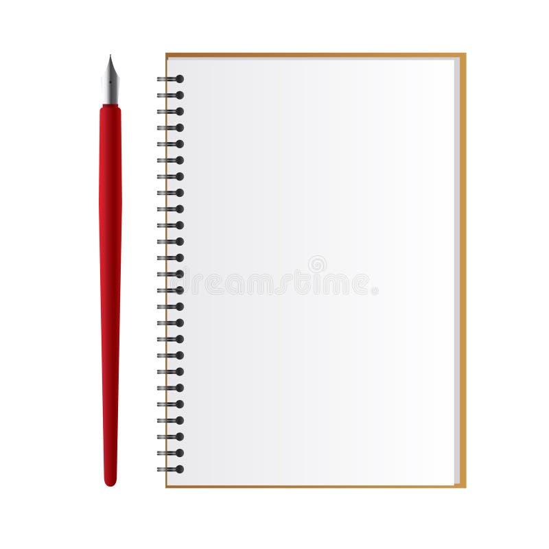 Notizbuch mit einer Feder lizenzfreie stockfotografie