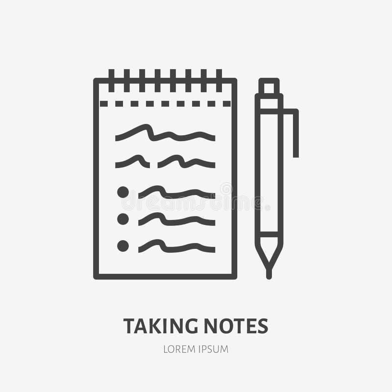 Notizbuch mit flacher Linie Ikone des Stiftes Dünnes Zeichen des Vektors des Nehmens von Kenntnissen, Ausbildungslogo Checklisten stock abbildung