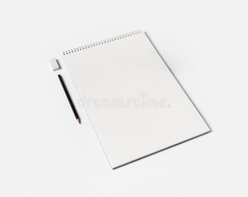 Notizbuch, Stift, Radiergummi stockfoto
