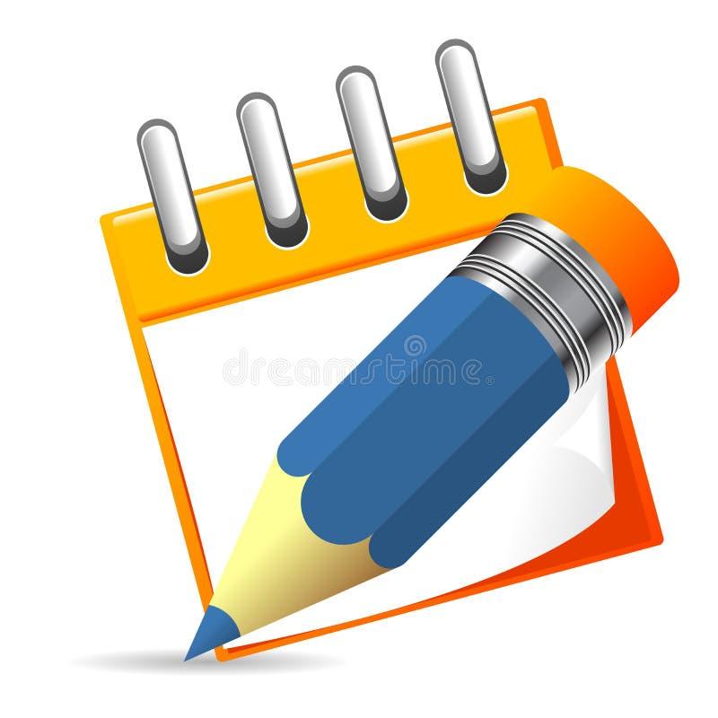 Notizbuch und Bleistift lizenzfreie abbildung