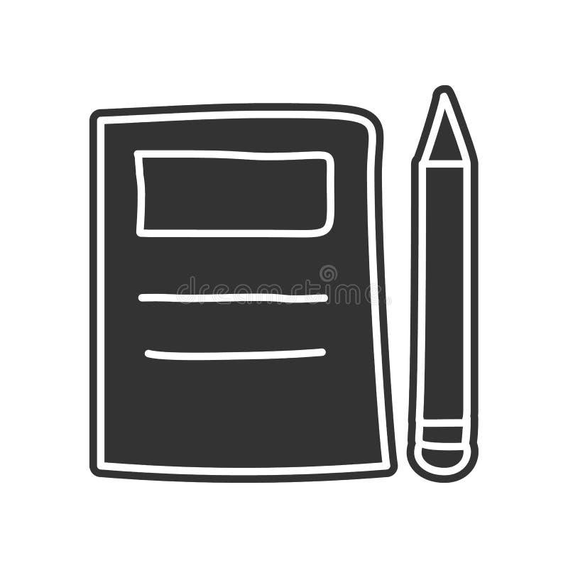 Notizbuch- und Bleistiftskizzenikone Element der Bildung für bewegliches Konzept und Netz apps Ikone Glyph, flache Ikone für Webs stock abbildung