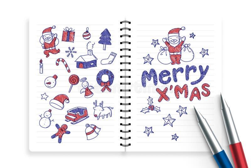 Notizbuch und Stifte mit Kinderjungenhandzeichnungssatz, fröhliches x& x27; mas, Weihnachtssymbolikonenkonzept-Ideenillustration stock abbildung