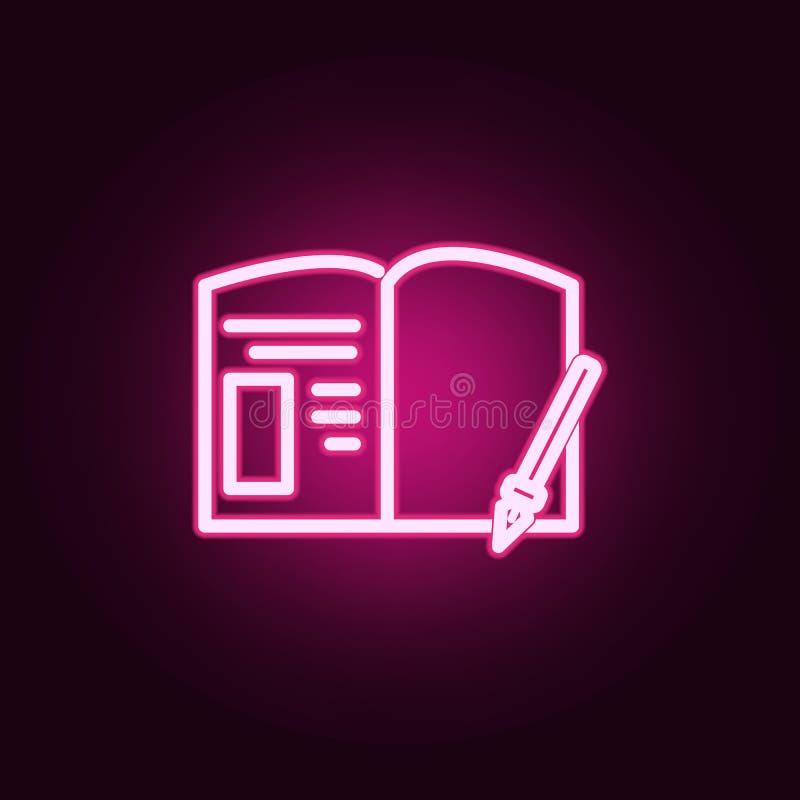 Notizbuch- und Stiftvektorneonikone Elemente des Ausbildungssatzes Einfache Ikone f?r Website, Webdesign, mobiler App, Informatio lizenzfreie abbildung