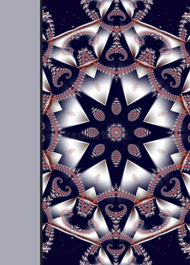 Notizbuchabdeckung mit schönem gewundenem Muster im Fractaldesign stock abbildung