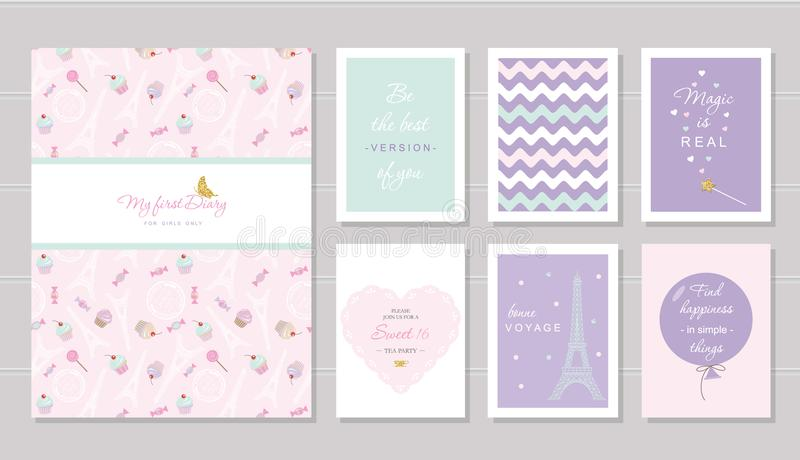 Notizbuchabdeckung und Kartendesign für Jugendlichen Paris-Thema, kluge Zitate Enthaltenes nahtloses Muster mit Eiffelturm lizenzfreie abbildung