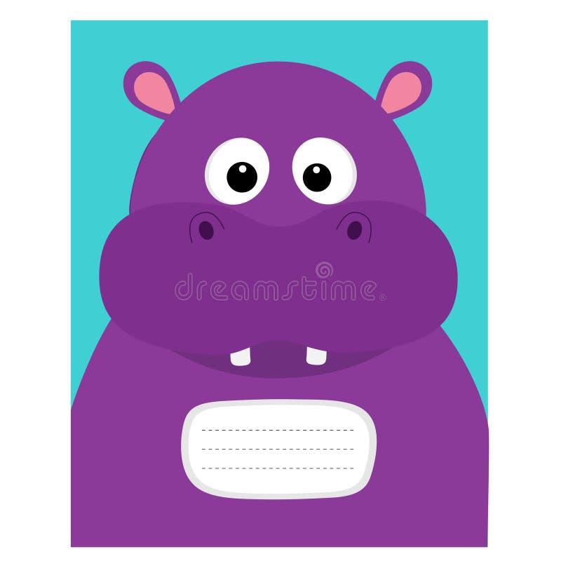 Notizbuchabdeckung Zusammensetzungsbuchschablone Nilpferdhauptgesicht Nettes Zeichentrickfilm-Figur-Flusspferd mit dem Zahn Babyt stock abbildung