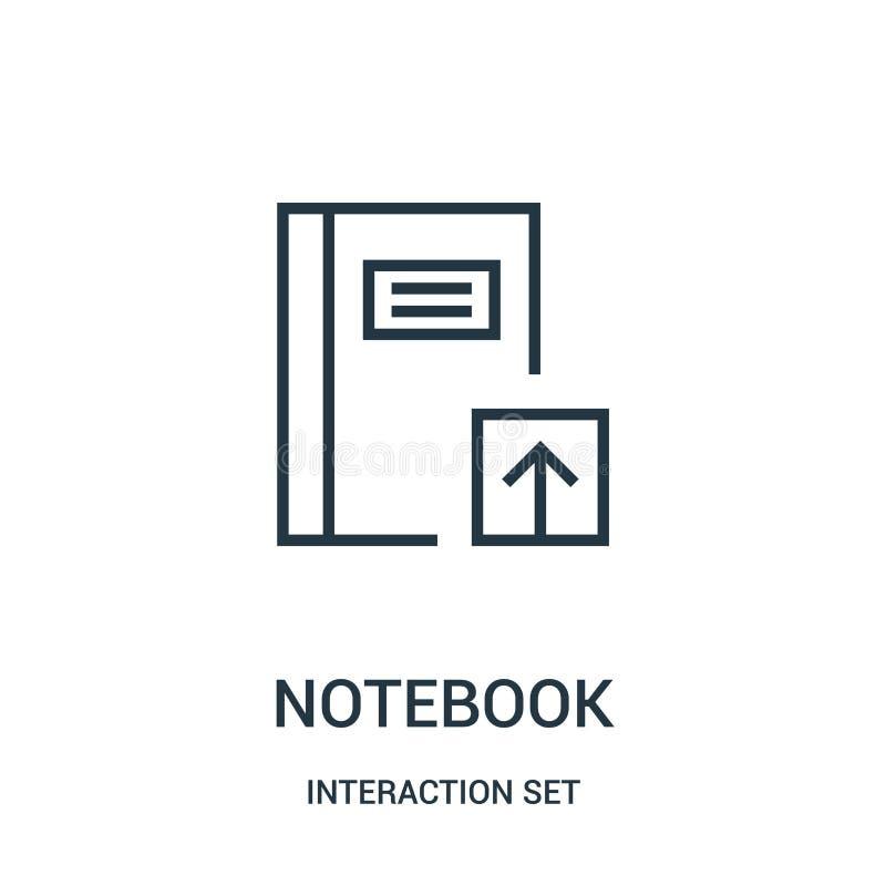 Notizbuchikonenvektor von der Interaktionssatzsammlung Dünne Linie Notizbuchentwurfsikonen-Vektorillustration lizenzfreie abbildung