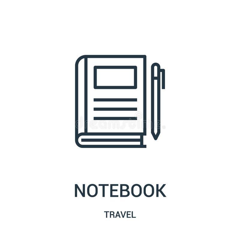 Notizbuchikonenvektor von der Reisesammlung Dünne Linie Notizbuchentwurfsikonen-Vektorillustration Lineares Symbol für Gebrauch a lizenzfreie abbildung