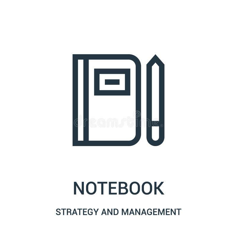 Notizbuchikonenvektor von der Strategie und von der Managementsammlung Dünne Linie Notizbuchentwurfsikonen-Vektorillustration vektor abbildung
