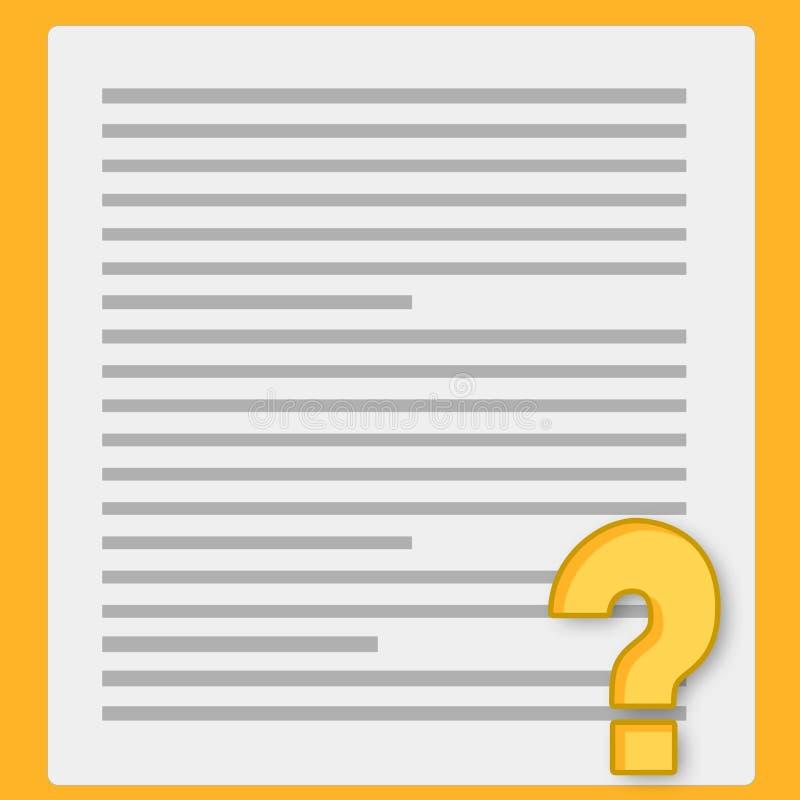 Notizbuchpapier und -fragebogen lizenzfreie abbildung