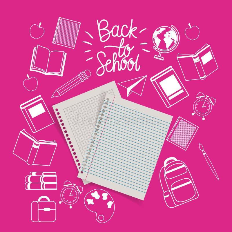 Notizbuchpapierblätter und -versorgungen zurück zu Schule stock abbildung