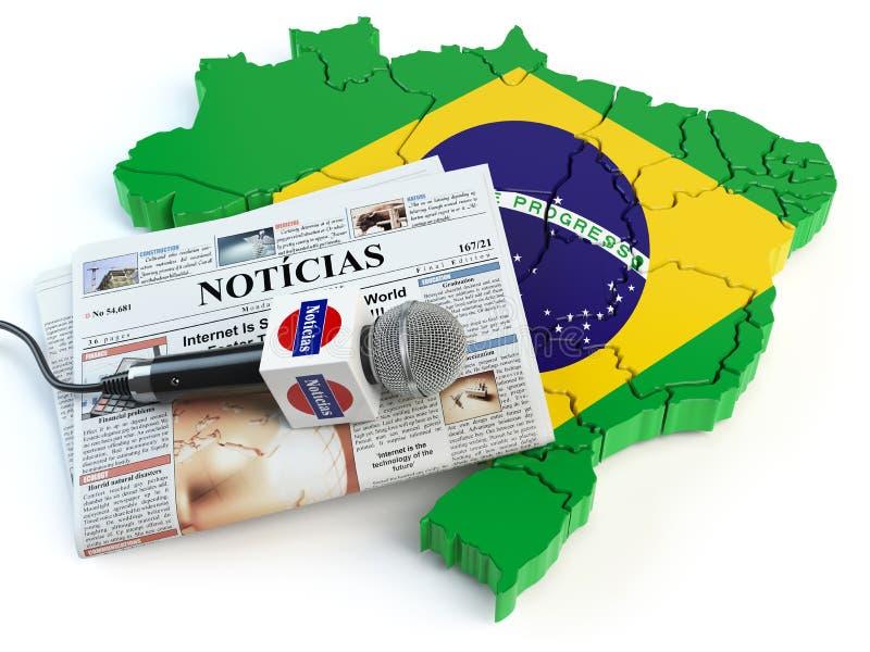 Notizie brasiliane, stampa e concetto di giornalismo Microfono e Ne illustrazione vettoriale