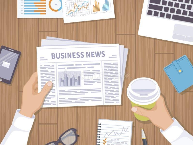 Notizie dal mondo degli affari Uomo d'affari che tiene un giornale e un caffè per andare sul desktop di legno illustrazione di stock