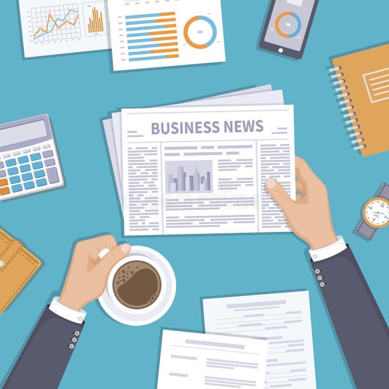 Notizie dal mondo degli affari Uomo d'affari che tiene una tazza di caffè e del giornale sul desktop illustrazione di stock