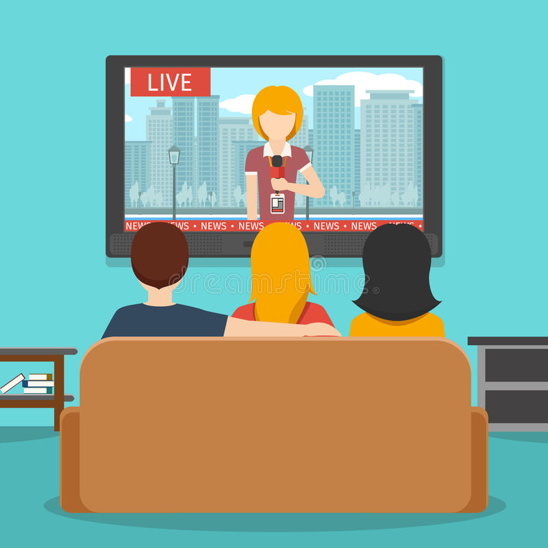 Notizie di sorveglianza della gente sulla televisione Illustrazione piana di vettore illustrazione di stock