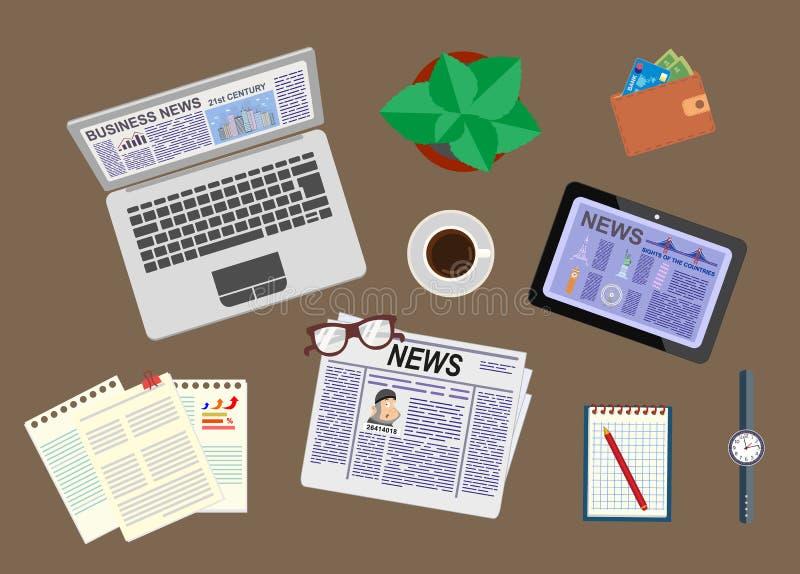 Notizie ed informazioni Notizie dal mondo degli affari ed il mercato Scrittorio di un uomo d'affari La vista dalla parte superior illustrazione di stock