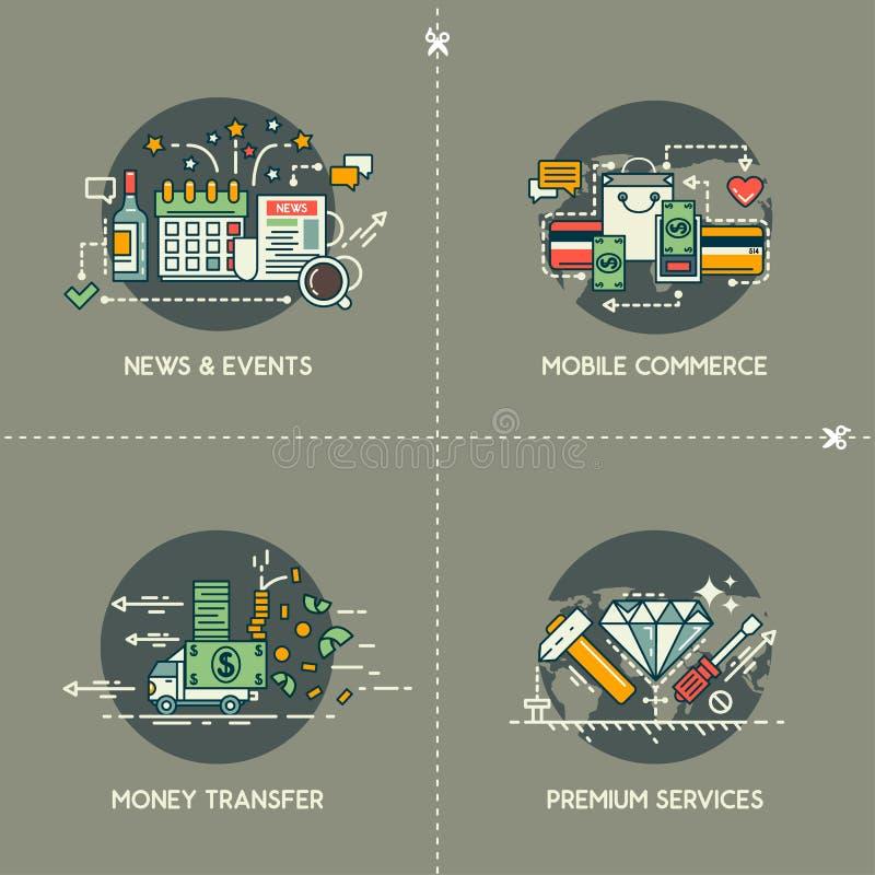Notizie & eventi, commercio mobile, trasferimento di denaro, servizi premio royalty illustrazione gratis