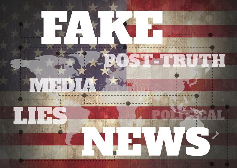 Notizie false e testo collegato sopra la mappa di mondo e la bandiera di U.S.A. illustrazione di stock