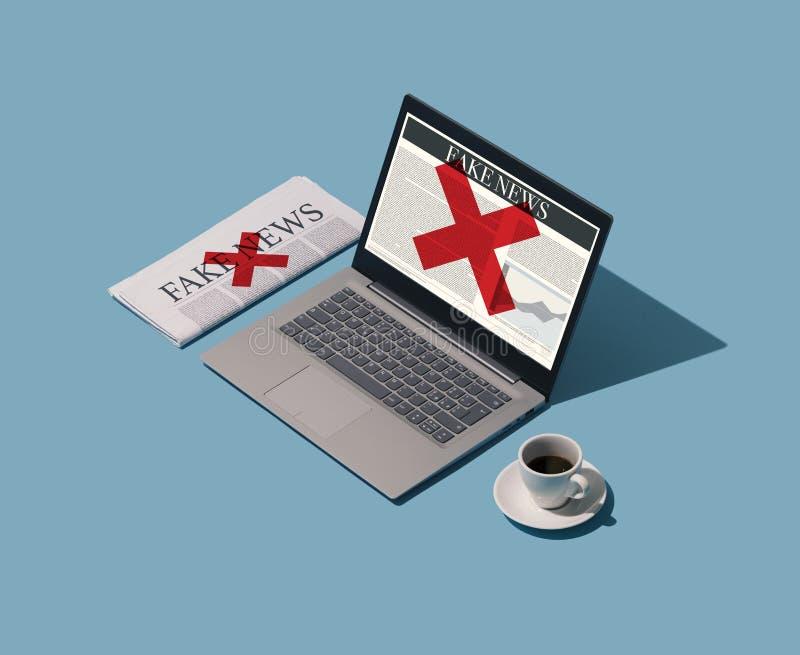 Notizie false online e sul giornale illustrazione di stock
