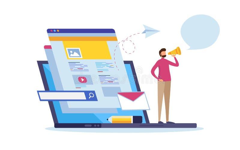 Notizie online, informazioni della pagina Web, media sociali Comunicazione di multimedia Contenuto dell'aggiornamento illustrazione di stock