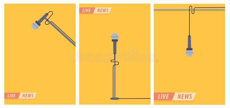 Notizie in tensione Microfono nello stile piano Illustrazione di notizie insieme Notizie sulla TV e sulla radio accumulazione int illustrazione di stock
