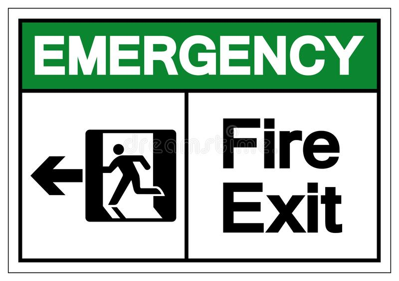 Notnotausgang-Symbol-Zeichen, Vektor-Illustration, lokalisiert auf wei?em Hintergrund-Aufkleber EPS10 lizenzfreie abbildung